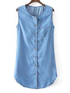 Robe En Jean Sans Manches Avec Rangée De Boutons - Bleu L