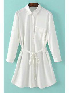 One-Pocket Rolled Sleeve Shirt Dress - White L