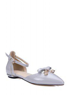 Bow Ankle Strap Pointed Toe Flat Shoes - Gray 39