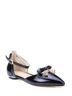 Bow Ankle Strap Pointed Toe Flat Shoes - Black 39