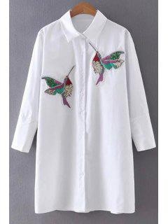 Embroidered Sequins Bird Shirt Dress - White L