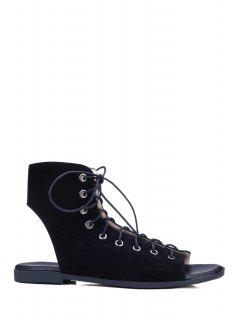 Lace-Up Open-Toe Flat Shoes - Black 39