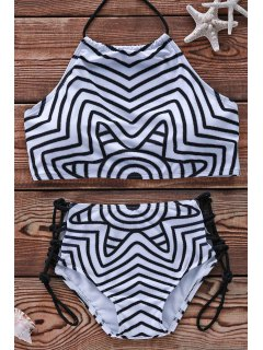Striped Halter Bikini Set - White And Black Xl