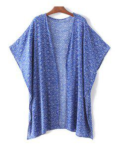 Batwing Sleeve Printed Open Front Blouse - Blue L
