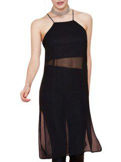 Black Spaghetti Straps Chiffon Dress - Black 2xl
