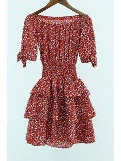 Off-The-épaule Red Leopard Dress - Rouge S