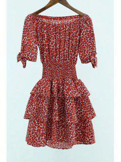 Off-The-Shoulder Red Leopard Dress - Red L
