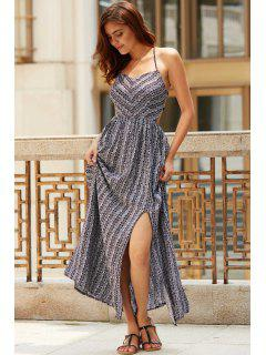 Ethnic Print Cami Slit Maxi Dress - Black L