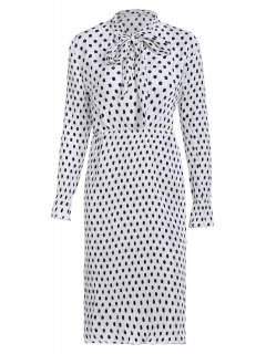 Bowknot Polka Dot Jewel Neck Long Sleeve Dress - White