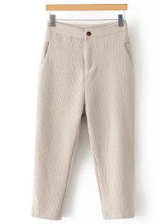 Pleated Straight Leg Capri Pants - Off-white L