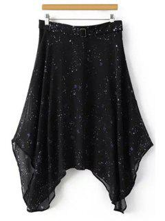 Star Print High Waist Irregular Hem Skirt - Black Xl