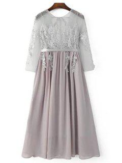 Lace Splice Round Neck 3/4 Sleeve Backless Dress - Light Gray L