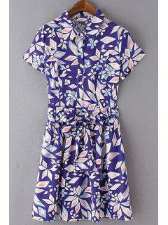 Geometric Print Turn Down Collar Short Sleeve Dress - Sapphire Blue L