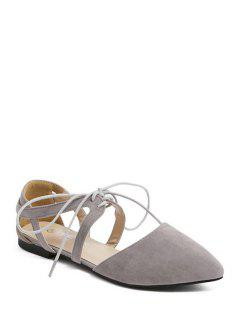 Hollow Out Flock Lace-Up Flat Shoes - Gray 39