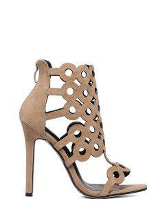 Openwork Flock Stiletto Heel Sandals - Apricot 40
