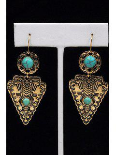 Faux Turquoise Triangle Pendant Earrings - Golden