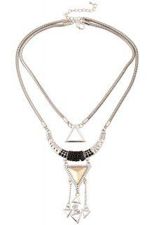 Hollow Triangle Pendant Necklace - Silver