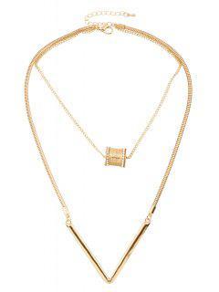 Bead Letter V Shape Pendant Necklace - Golden