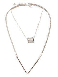 Bead Letter V Shape Pendant Necklace - Silver