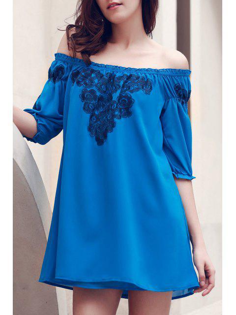 fashion Off The Shoulder Floral Embroidered Short Sleeve Dress - BLUE S Mobile