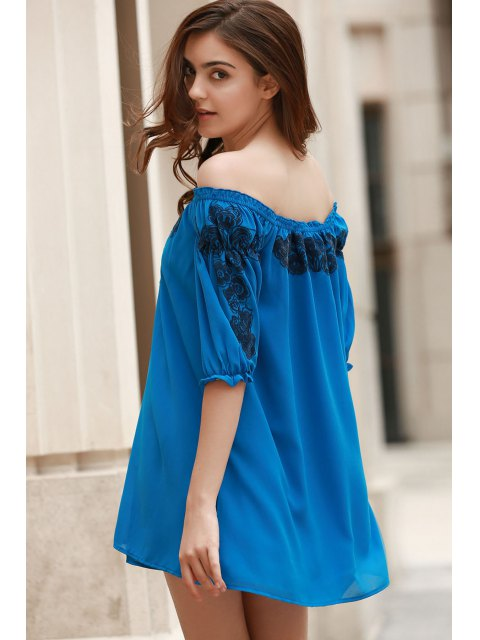 fashion Off The Shoulder Floral Embroidered Short Sleeve Dress - BLUE S Mobile