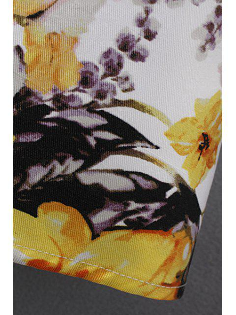 new Elegant Flower Print Round Neck Short Sleeve Dress - YELLOW S Mobile