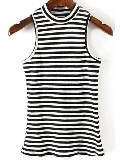 fancy Fitted Striped Jewel Neck Tank Top - BLACK M Mobile