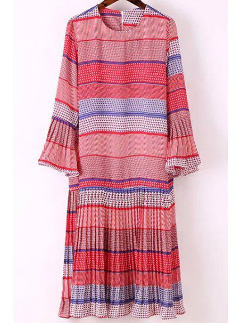 shops Printed Round Collar Flare Sleeve Dress - RED M Mobile