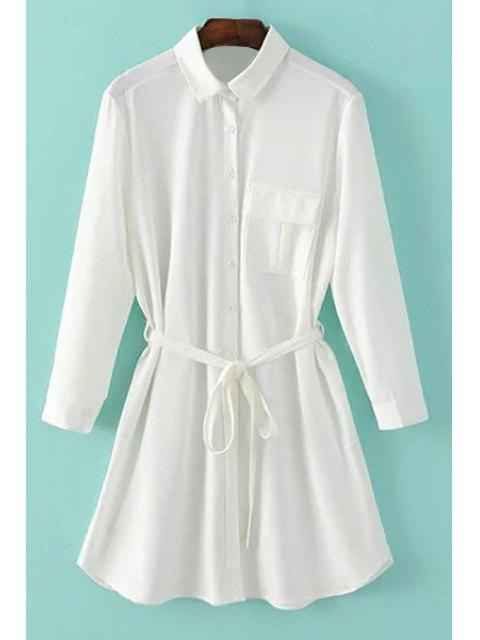 trendy One-Pocket Rolled Sleeve Shirt Dress - WHITE S Mobile