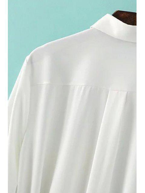 shops One-Pocket Rolled Sleeve Shirt Dress - GRAY M Mobile