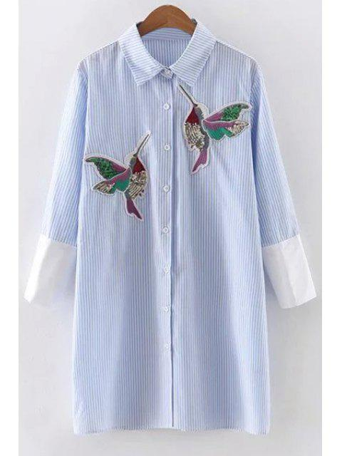 fashion Embroidered Sequins Bird Striped Dress - BLUE S Mobile