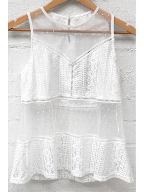 women's Mesh Splice Round Neck White Tank Top - WHITE L Mobile