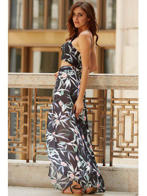 ladies Cami Tropical Two Piece Prom Dress - BLACK L Mobile