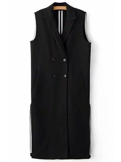 Negro raja del lado de la solapa del cuello sin mangas del chaleco - Negro M Mobile