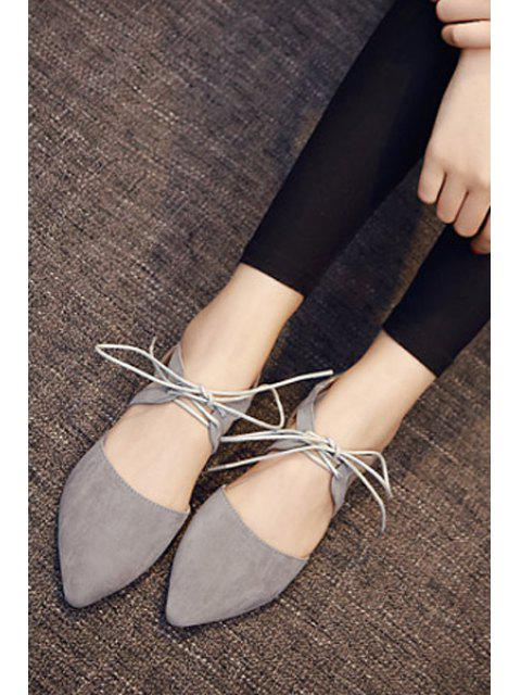 outfit Hollow Out Flock Lace-Up Flat Shoes - GRAY 36 Mobile