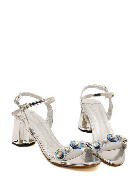 hot Rhinestone Metallic Color Chunky Heel Sandals -   Mobile