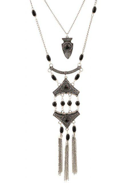 womens Tassel Layered Pendant Necklace -   Mobile