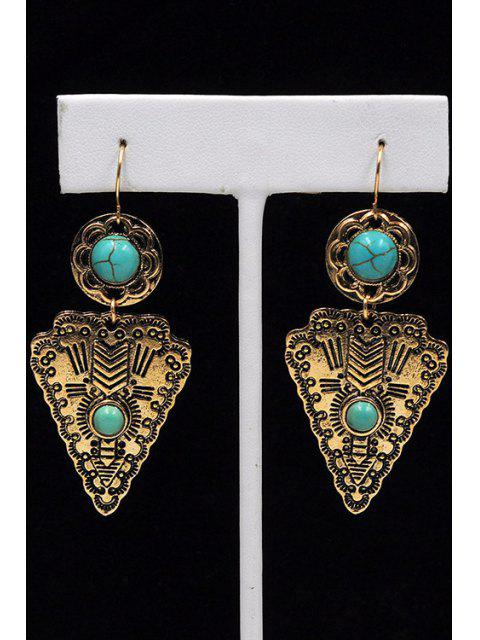 latest Faux Turquoise Triangle Pendant Earrings - GOLDEN  Mobile