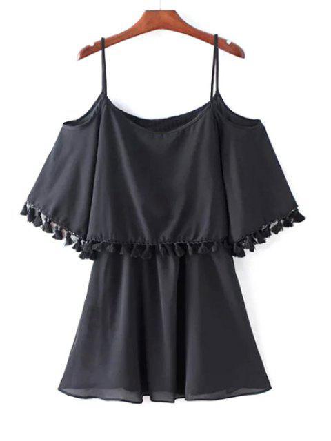 affordable Solid Color Spaghetti Strap Cold Shoulder Dress - BLACK L Mobile