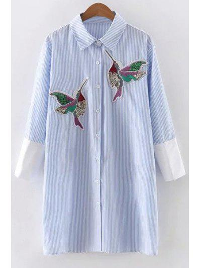 Embroidered Sequins Bird Striped Dress - Blue L