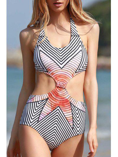 High-Neck Striped One-Piece Swimwear - White M