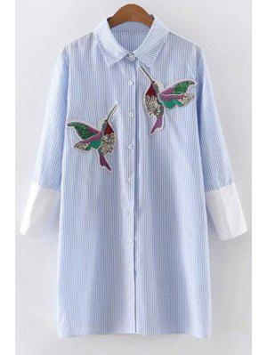 Embroidered Sequins Bird Striped Dress - Blue L
