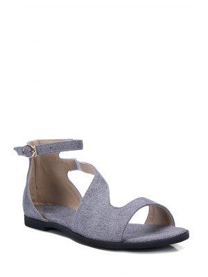 Solid Color Ankle Strap Flat Heel Sandals - Gray 39