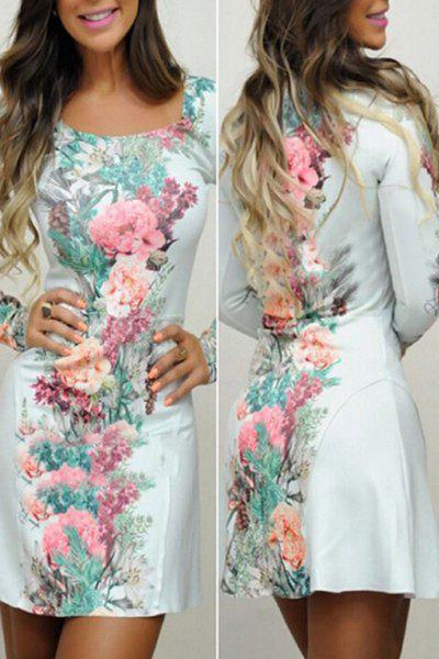 Floreale Collo Quadrato Manica Lunga Vestito