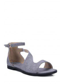Buy Solid Color Ankle Strap Flat Heel Sandals - GRAY 39