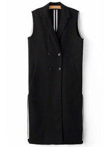 Black Side Slit Lapel Neck Sleeveless Waistcoat - Black M