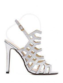 Buy Peep Toe Sequined Stiletto Heel Sandals - SILVER 35