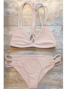 Women High-Cut Hollow Out Swimsuit Slip - Pink M