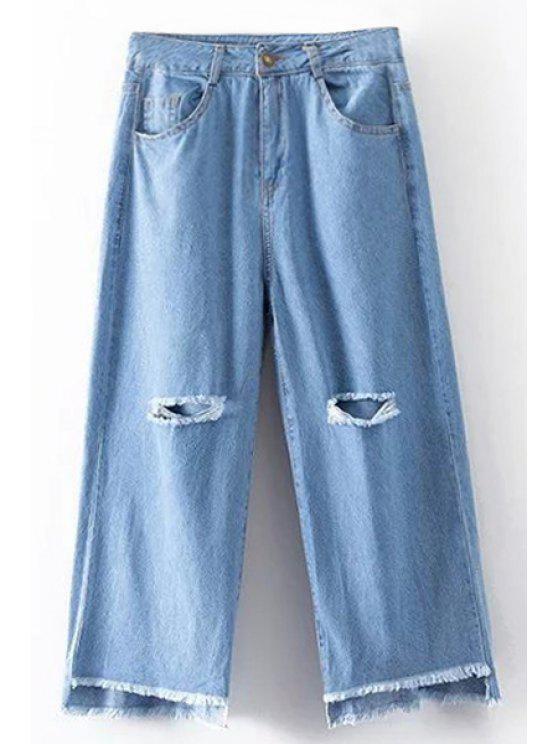Quebrado Buraco alta cintura larga Jeans Leg - Azul claro L