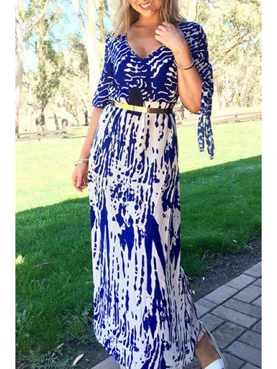 فستان ماكسي غارق الرقبة - أزرق S